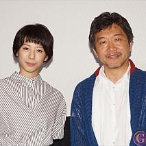 夏帆(左)・是枝裕和監督(右)