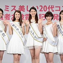左から、モデル賞:西本有希さん、準グランプリ:中谷モニカさん、グランプリ:是永瞳さん、準グランプリ:奥山かずささん、審査員特別賞:宮本茉由さん