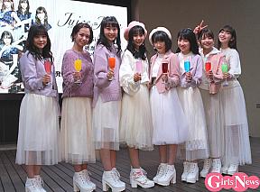 Juice=Juice。(左から)稲場愛香、高木紗友希、段原瑠々、宮崎由加、宮本佳林、梁川奈々美、金澤朋子、植村あかり